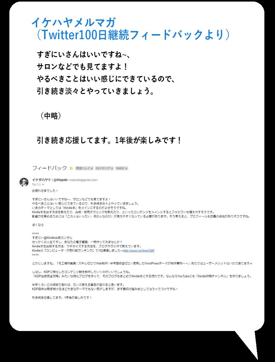 イケハヤメルマガ(Twitter100日継続フィードバックより)